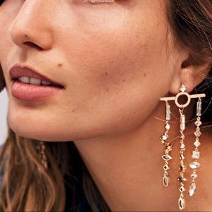 Free People Golden Jeweled Graphic Earrings